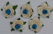 2.5cm OFF WHITE TURQUOISE CENTER Mulberry Paper Roses (only flower head)